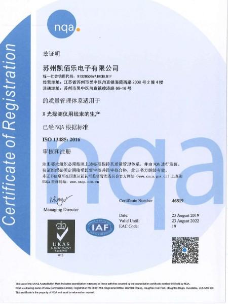 13485中文版资质证书