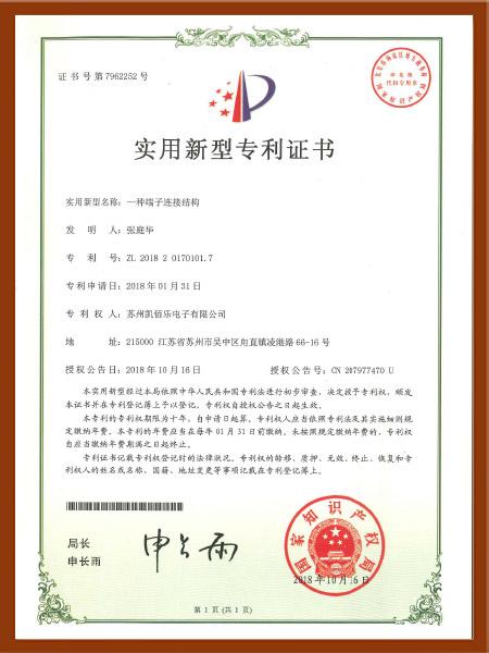 一种端子连接结构专利认证